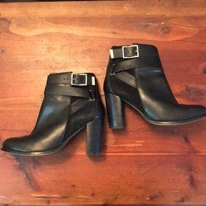 Topshop Black Booties 100% Leather